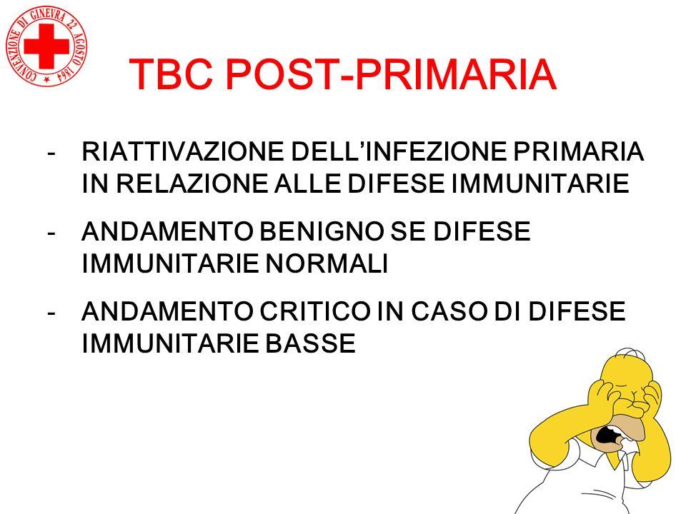 TBC POST-PRIMARIA RIATTIVAZIONE DELL'INFEZIONE PRIMARIA IN RELAZIONE ALLE DIFESE IMMUNITARIE. ANDAMENTO BENIGNO SE DIFESE IMMUNITARIE NORMALI.