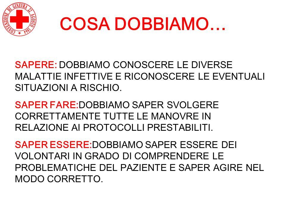 COSA DOBBIAMO… SAPERE: DOBBIAMO CONOSCERE LE DIVERSE MALATTIE INFETTIVE E RICONOSCERE LE EVENTUALI SITUAZIONI A RISCHIO.