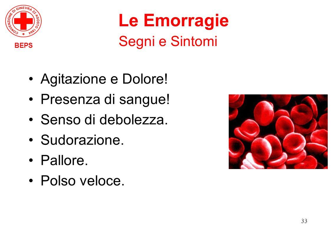 Le Emorragie Segni e Sintomi Agitazione e Dolore! Presenza di sangue!