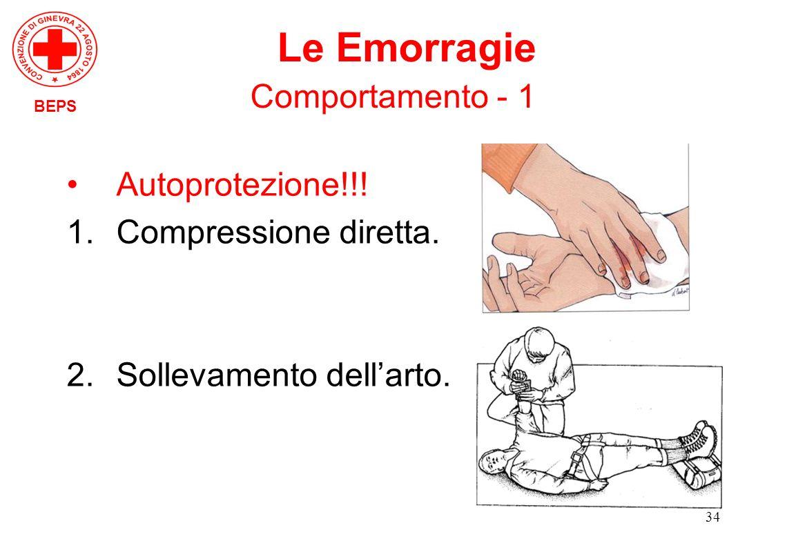 Le Emorragie Comportamento - 1 Autoprotezione!!! Compressione diretta.