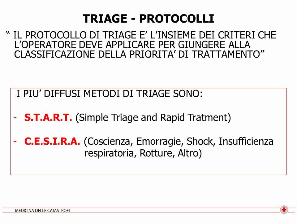 TRIAGE - PROTOCOLLI
