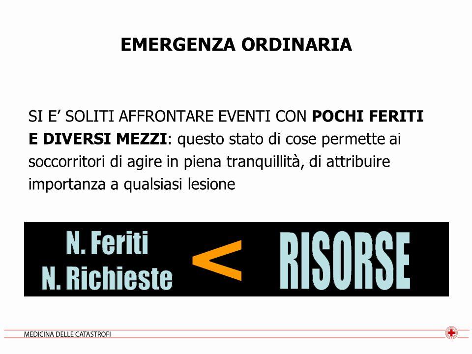 EMERGENZA ORDINARIA SI E' SOLITI AFFRONTARE EVENTI CON POCHI FERITI