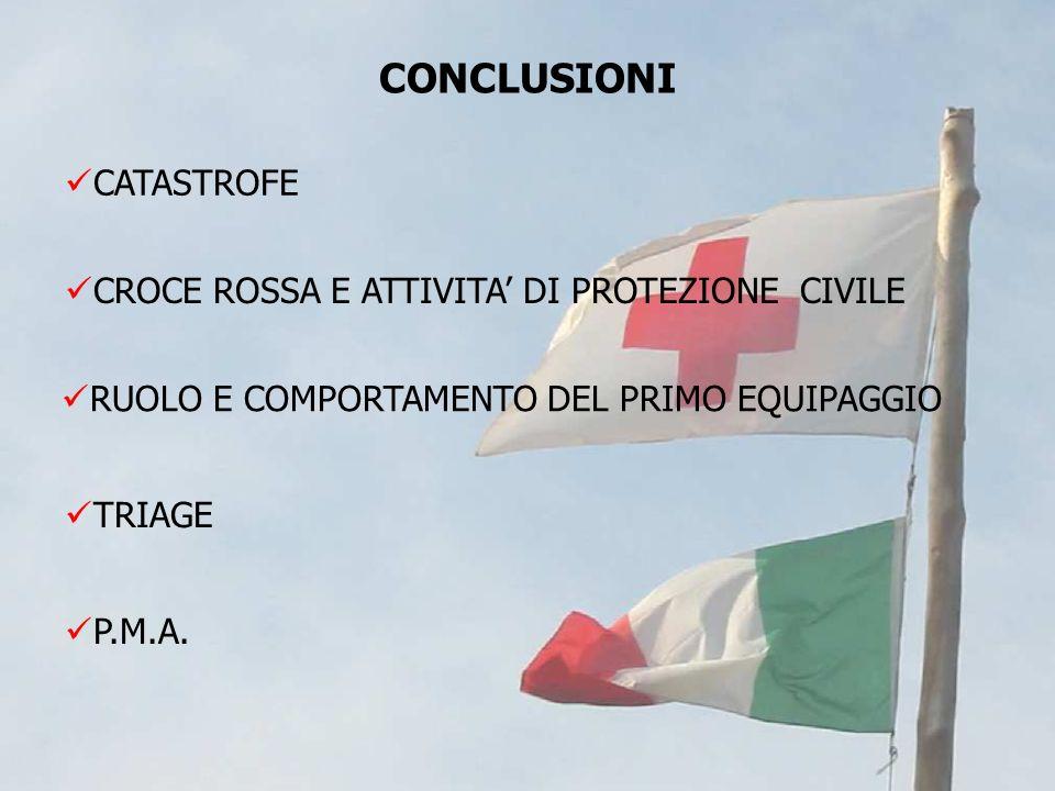 CONCLUSIONI CATASTROFE CROCE ROSSA E ATTIVITA' DI PROTEZIONE CIVILE