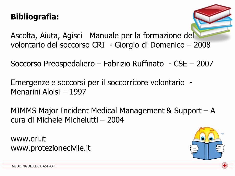 Bibliografia: Ascolta, Aiuta, Agisci Manuale per la formazione del volontario del soccorso CRI - Giorgio di Domenico – 2008.
