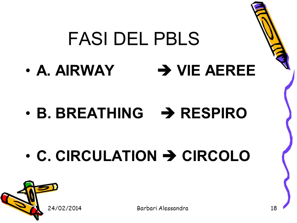 FASI DEL PBLS A. AIRWAY  VIE AEREE B. BREATHING  RESPIRO