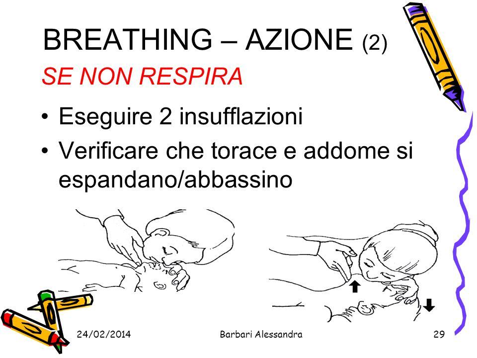 BREATHING – AZIONE (2) SE NON RESPIRA Eseguire 2 insufflazioni