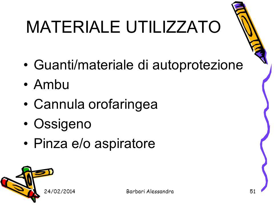 MATERIALE UTILIZZATO Guanti/materiale di autoprotezione Ambu