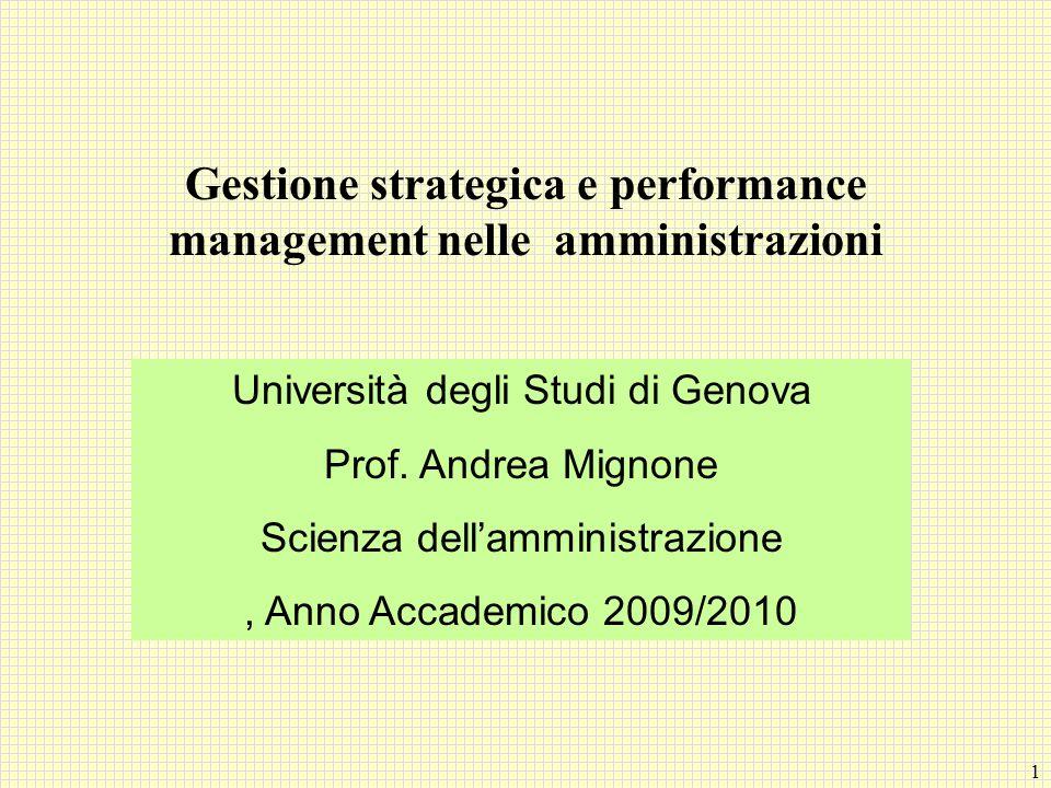 Gestione strategica e performance management nelle amministrazioni