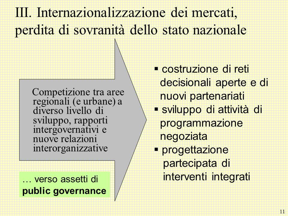 III. Internazionalizzazione dei mercati, perdita di sovranità dello stato nazionale