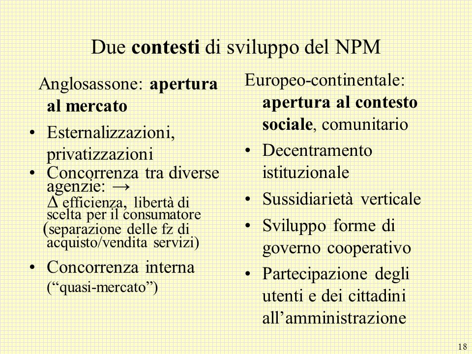 Due contesti di sviluppo del NPM