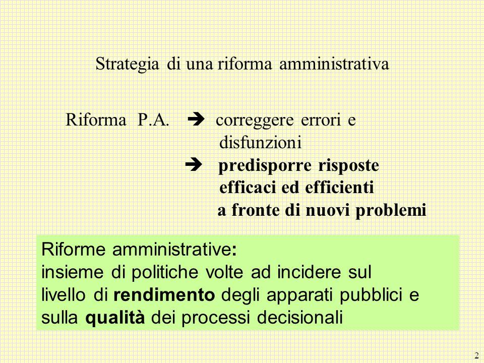 Strategia di una riforma amministrativa