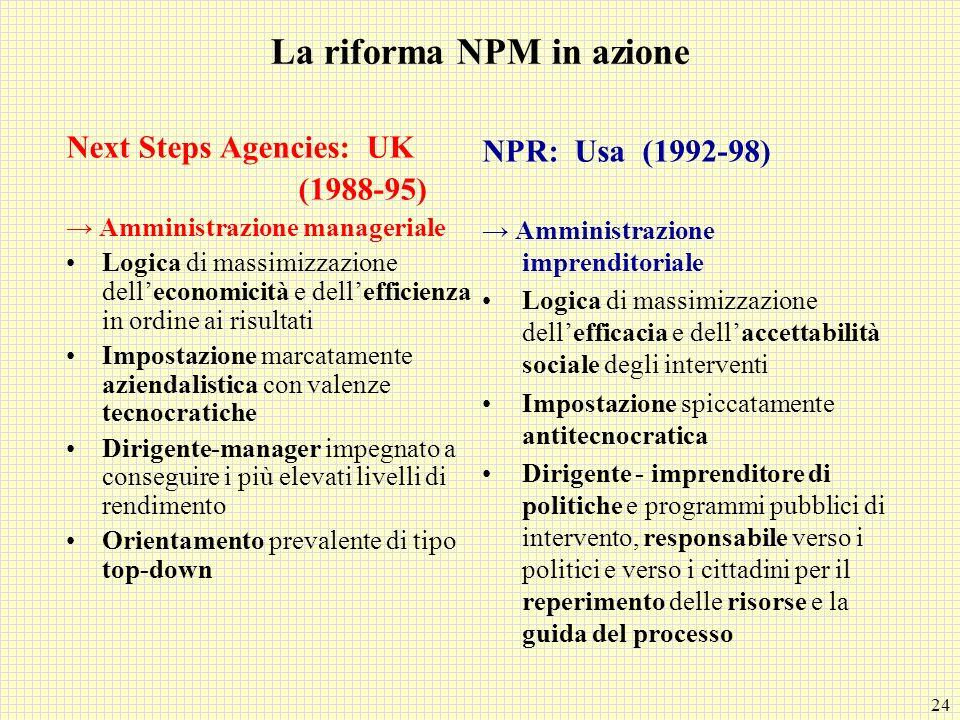 La riforma NPM in azione