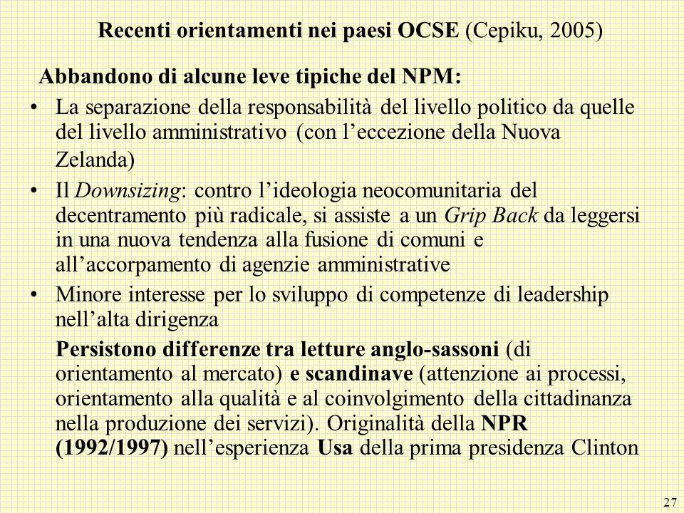 Recenti orientamenti nei paesi OCSE (Cepiku, 2005)