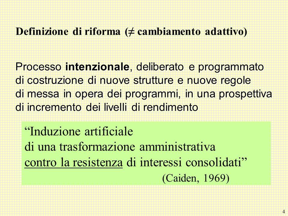 Definizione di riforma (≠ cambiamento adattivo)