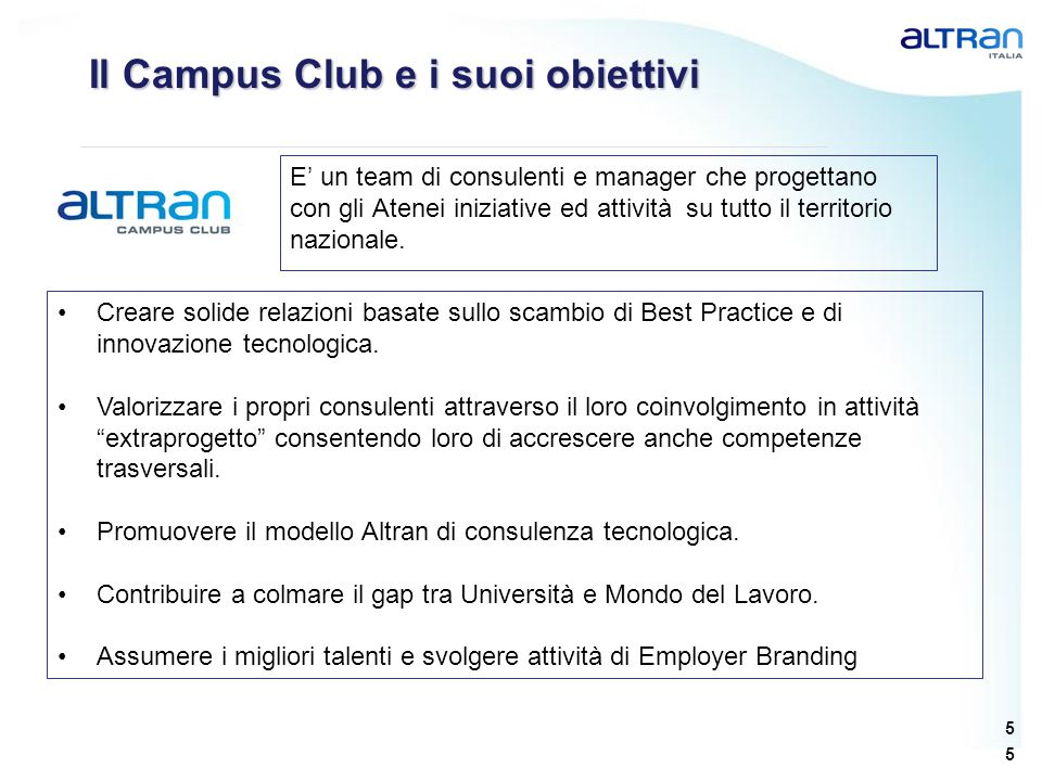 Il Campus Club e i suoi obiettivi