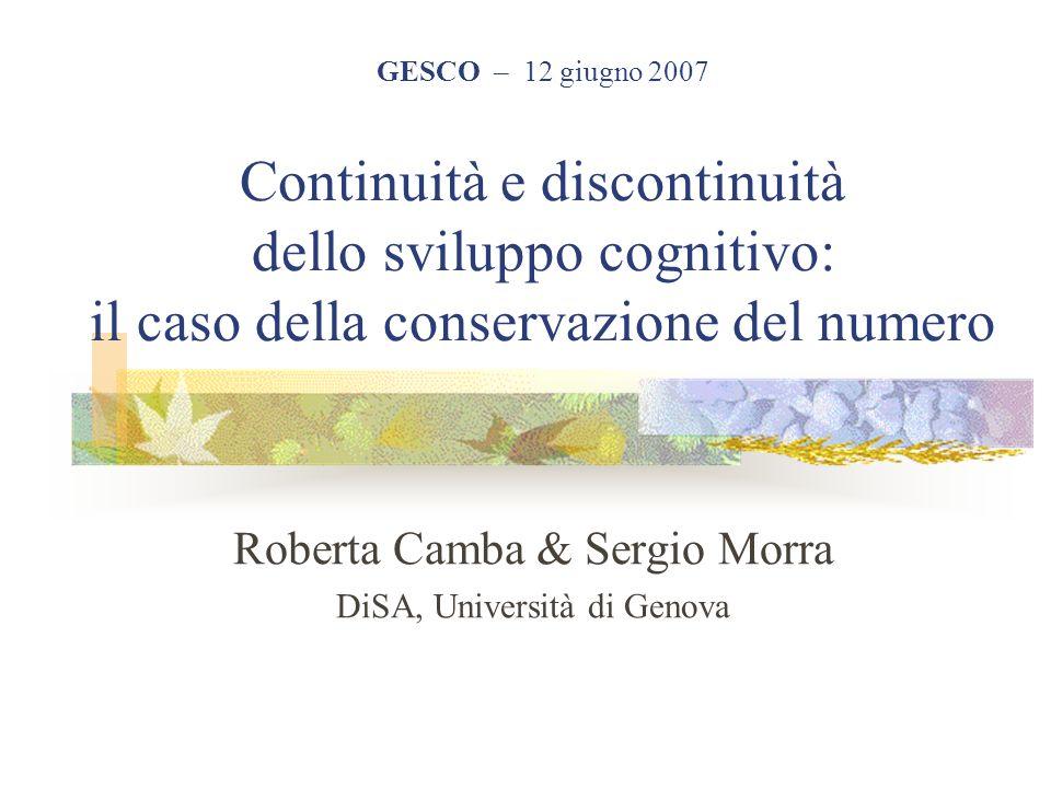 Roberta Camba & Sergio Morra DiSA, Università di Genova