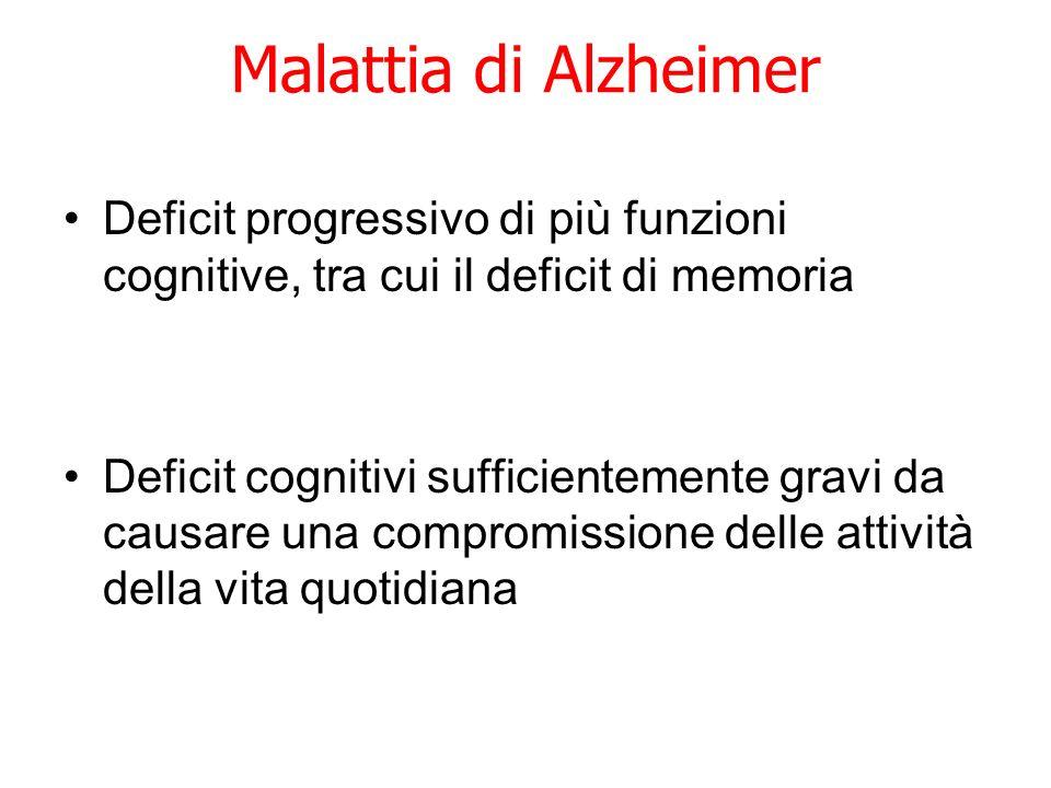 Malattia di Alzheimer Deficit progressivo di più funzioni cognitive, tra cui il deficit di memoria.