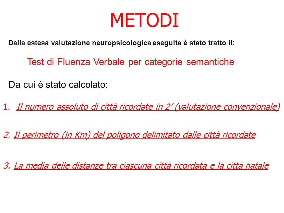 Test di Fluenza Verbale per categorie semantiche