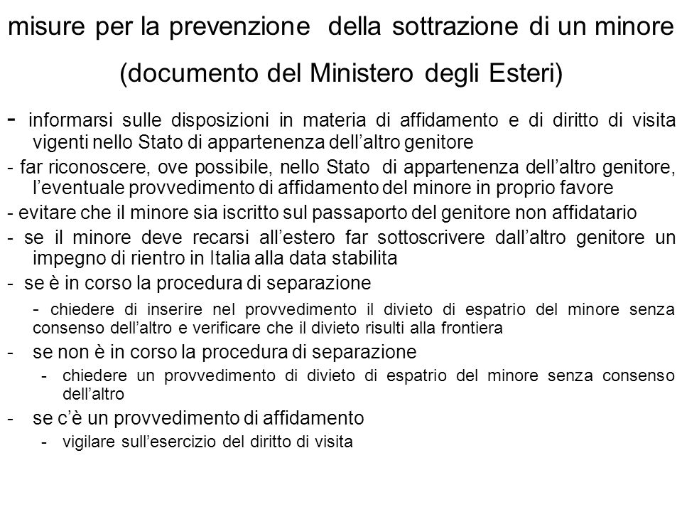 misure per la prevenzione della sottrazione di un minore (documento del Ministero degli Esteri)