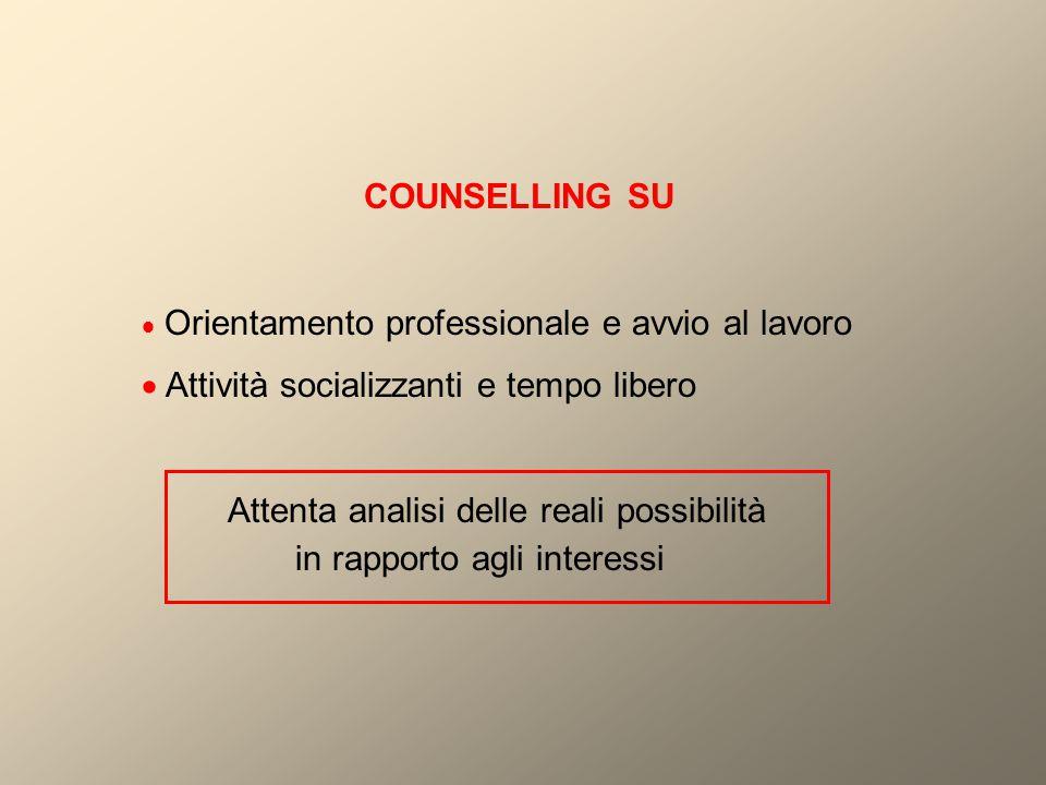 COUNSELLING SU  Orientamento professionale e avvio al lavoro.  Attività socializzanti e tempo libero.