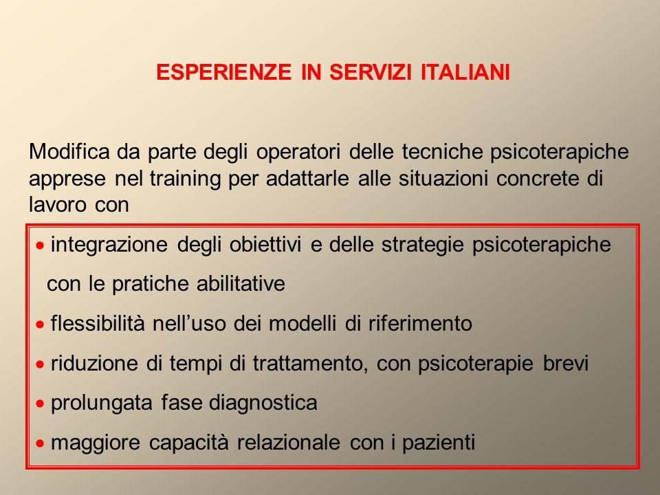 ESPERIENZE IN SERVIZI ITALIANI