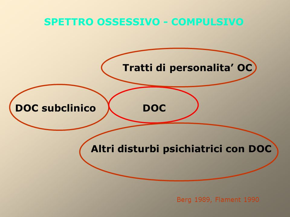 SPETTRO OSSESSIVO - COMPULSIVO Tratti di personalita' OC