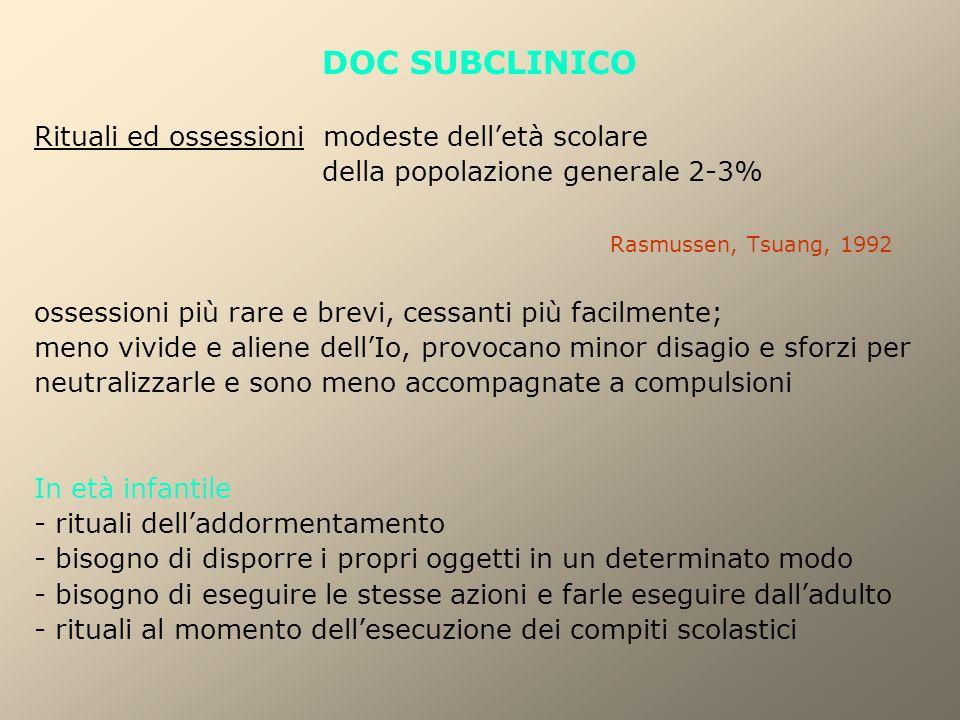 DOC SUBCLINICO Rituali ed ossessioni modeste dell'età scolare