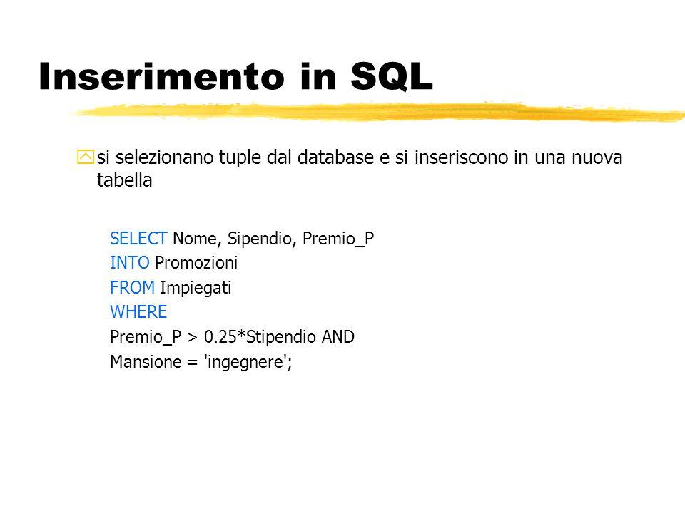 Inserimento in SQL si selezionano tuple dal database e si inseriscono in una nuova tabella. SELECT Nome, Sipendio, Premio_P.