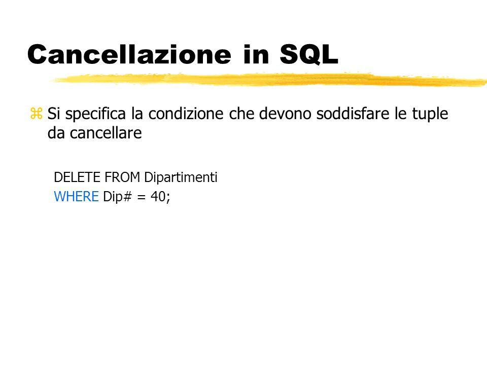 Cancellazione in SQL Si specifica la condizione che devono soddisfare le tuple da cancellare. DELETE FROM Dipartimenti.