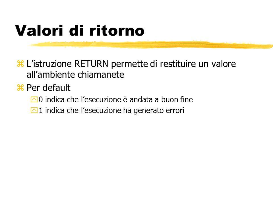 Valori di ritorno L'istruzione RETURN permette di restituire un valore all'ambiente chiamanete. Per default.