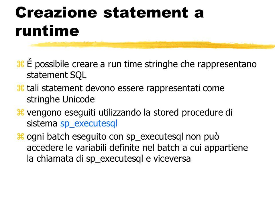 Creazione statement a runtime