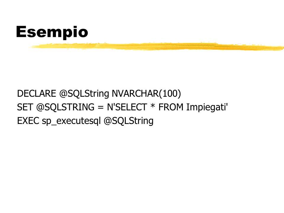 Esempio DECLARE @SQLString NVARCHAR(100)
