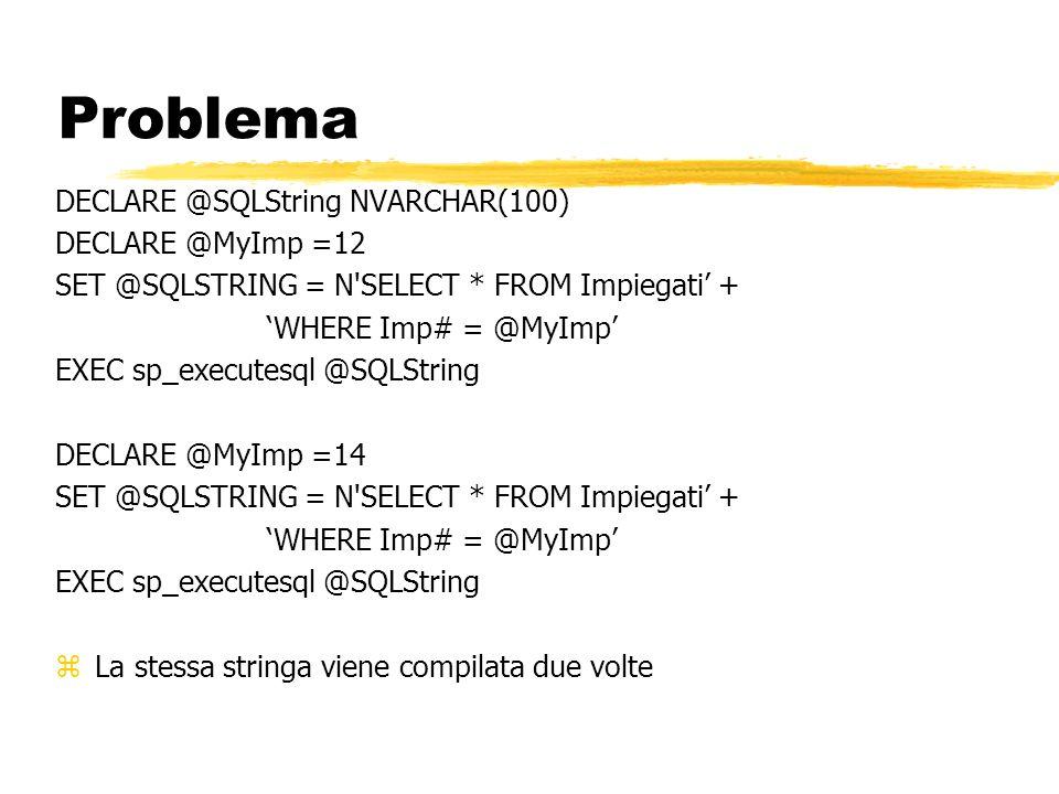 Problema DECLARE @SQLString NVARCHAR(100) DECLARE @MyImp =12