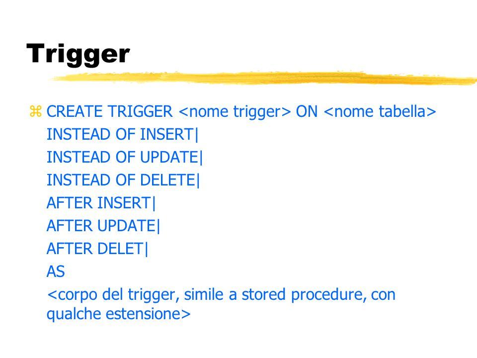 Trigger CREATE TRIGGER <nome trigger> ON <nome tabella>