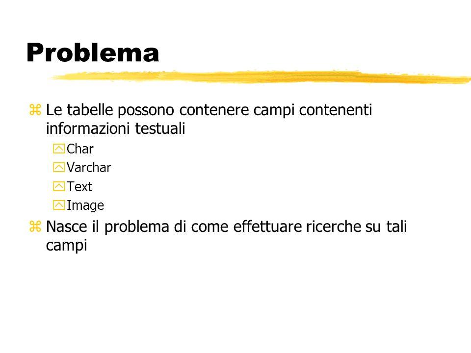 Problema Le tabelle possono contenere campi contenenti informazioni testuali. Char. Varchar. Text.