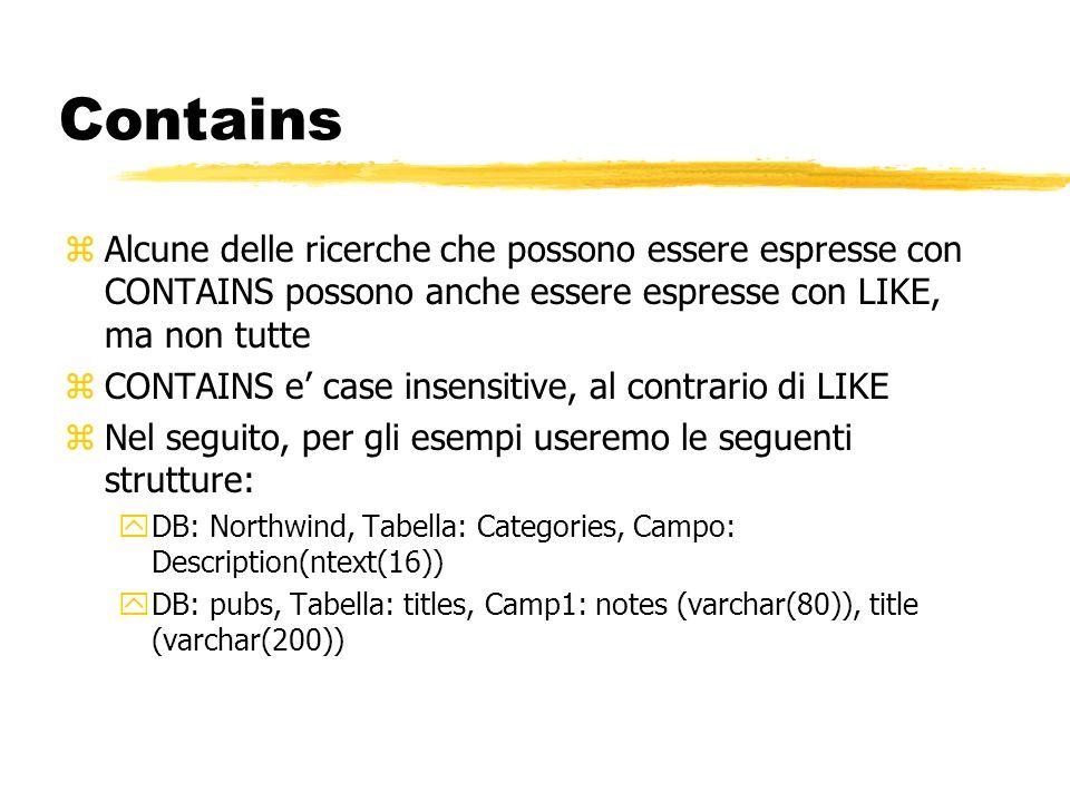 Contains Alcune delle ricerche che possono essere espresse con CONTAINS possono anche essere espresse con LIKE, ma non tutte.