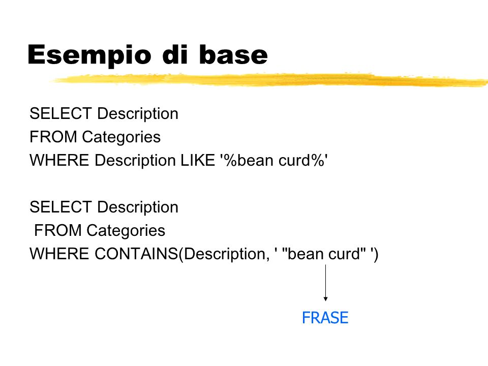 Esempio di base SELECT Description FROM Categories