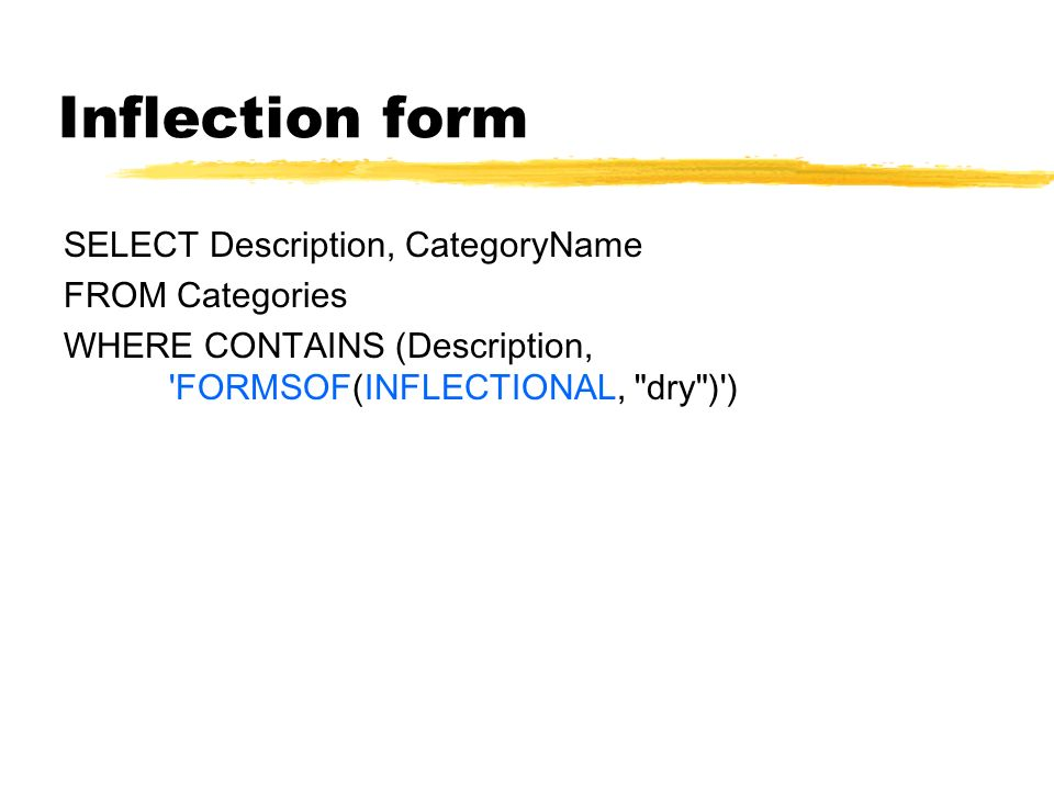 Inflection form SELECT Description, CategoryName FROM Categories