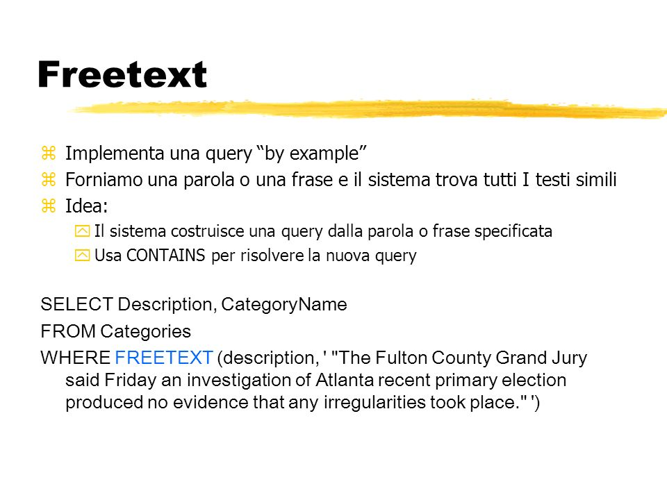 Freetext Implementa una query by example