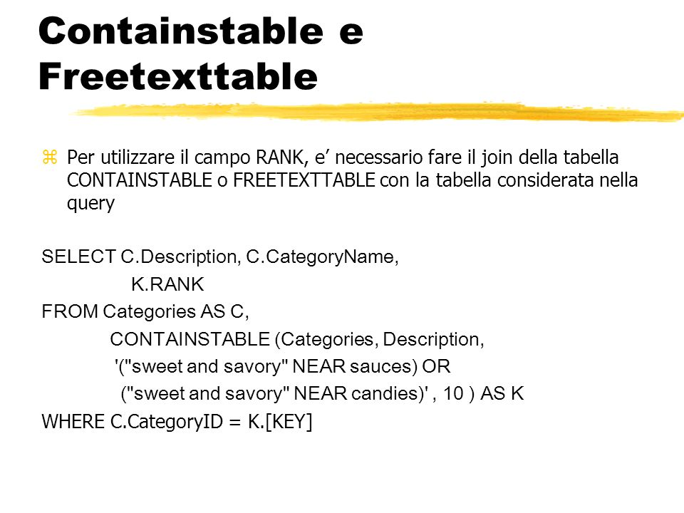 Containstable e Freetexttable