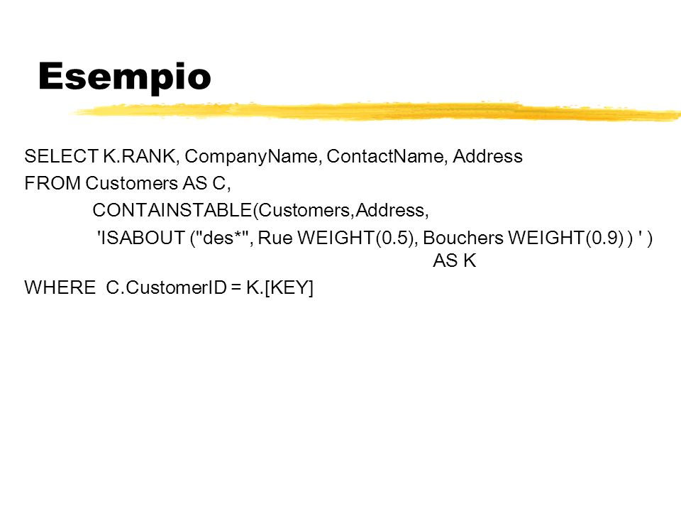 Esempio SELECT K.RANK, CompanyName, ContactName, Address