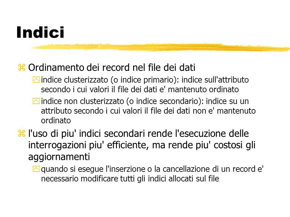 Indici Ordinamento dei record nel file dei dati