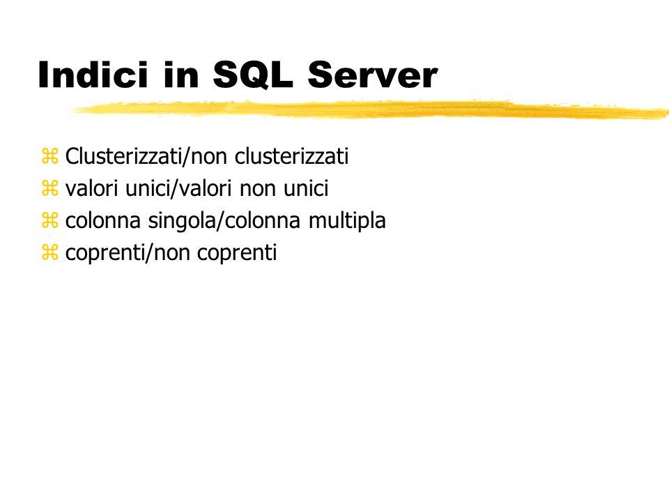Indici in SQL Server Clusterizzati/non clusterizzati