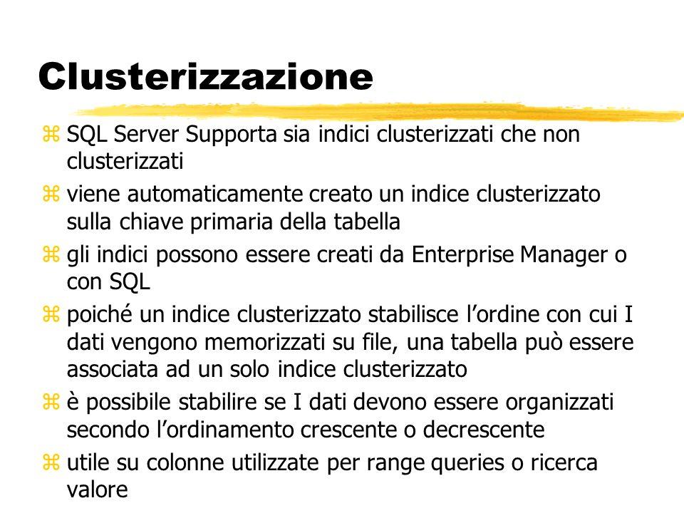 Clusterizzazione SQL Server Supporta sia indici clusterizzati che non clusterizzati.