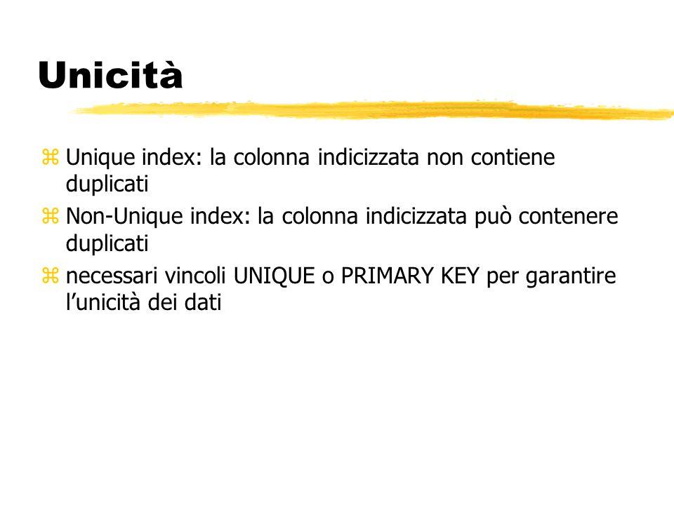 Unicità Unique index: la colonna indicizzata non contiene duplicati
