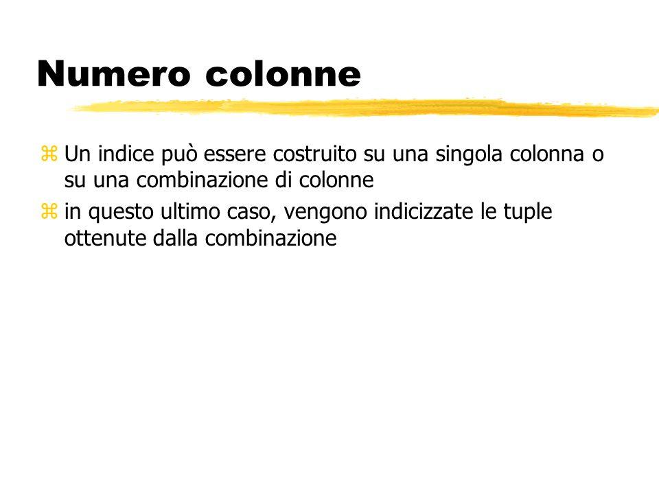 Numero colonne Un indice può essere costruito su una singola colonna o su una combinazione di colonne.