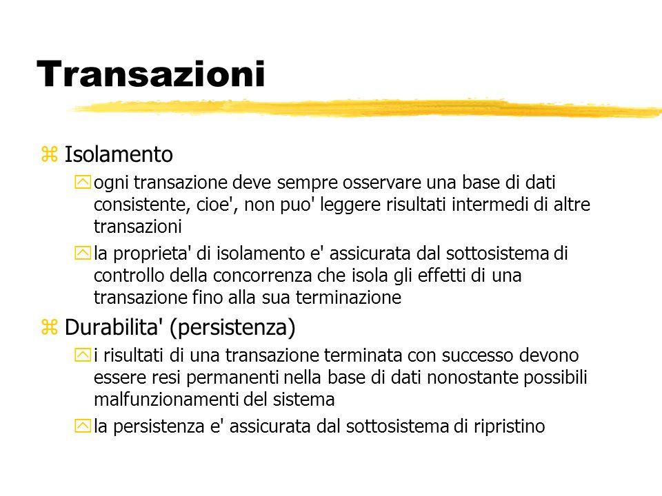 Transazioni Isolamento Durabilita (persistenza)