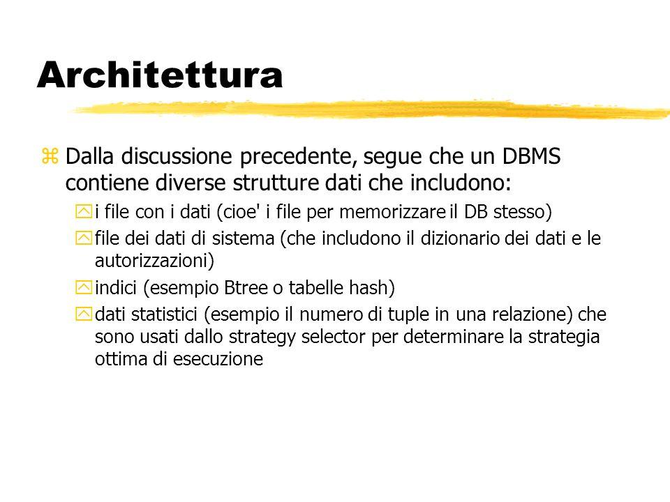 Architettura Dalla discussione precedente, segue che un DBMS contiene diverse strutture dati che includono: