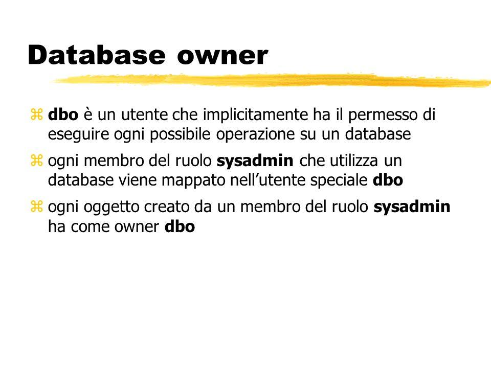 Database owner dbo è un utente che implicitamente ha il permesso di eseguire ogni possibile operazione su un database.