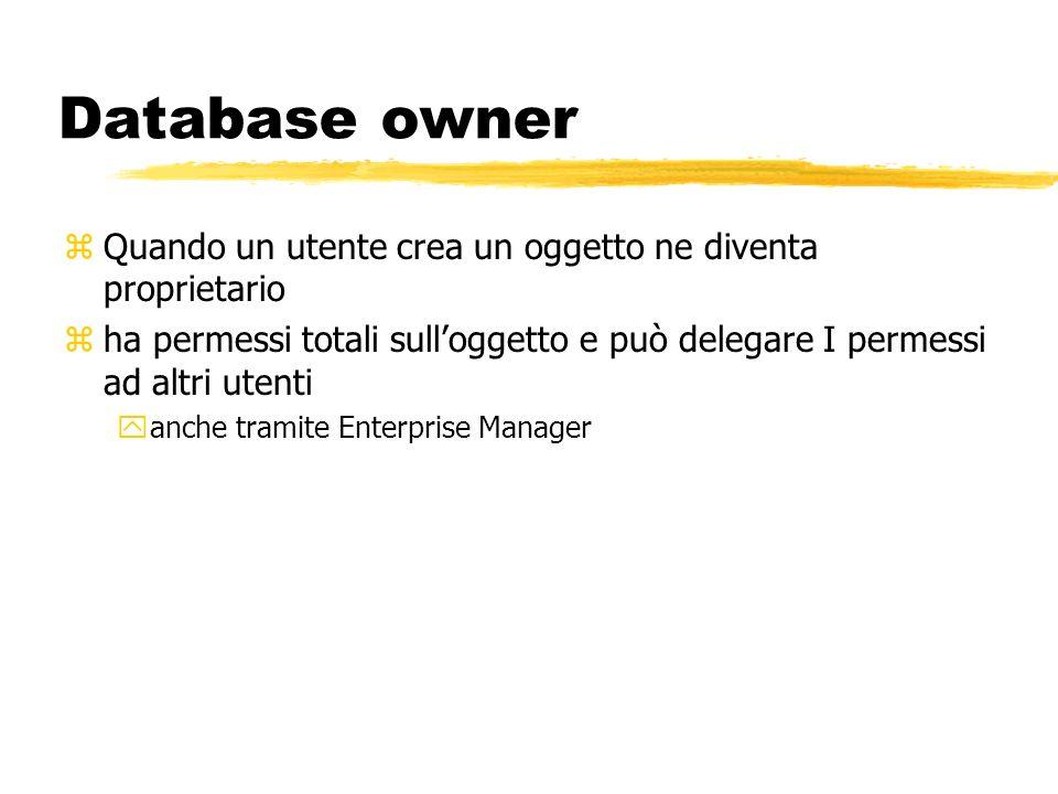 Database owner Quando un utente crea un oggetto ne diventa proprietario. ha permessi totali sull'oggetto e può delegare I permessi ad altri utenti.